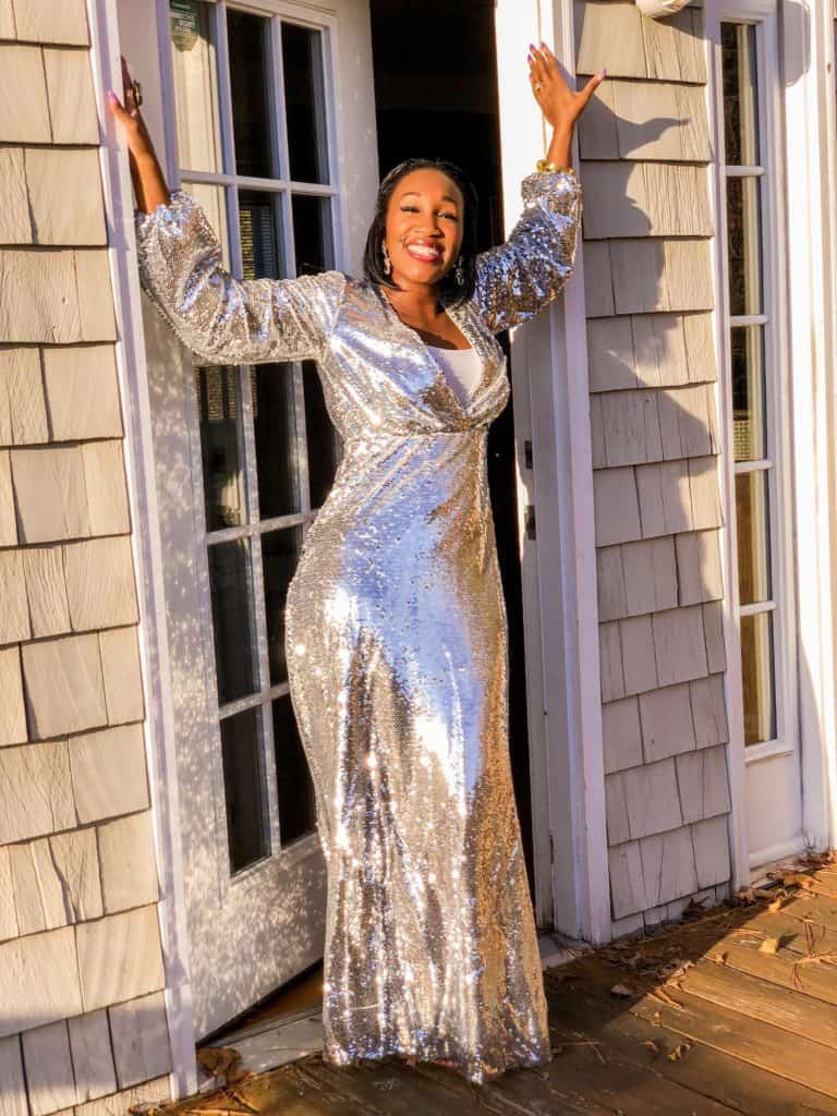 4707449f00efe Shaunda Necole long silver sequin dress Pin this image on Pinterest